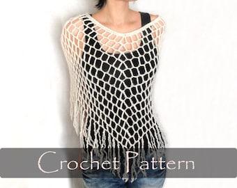 CROCHET PATTERN - Crochet Spiderweb Poncho Crochet Poncho Pattern Fringes Lacy Capelet Pattern Fishnet Poncho Pattern PDF - P0006