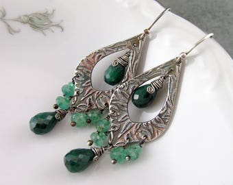 Emerald chandelier earrings, handmade recycled fine silver earrings, May birthstone-OOAK