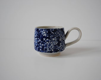 Blue Floral Mug - Japanese Inspired Handmade Stoneware Ceramic Flowers Coffee Tea