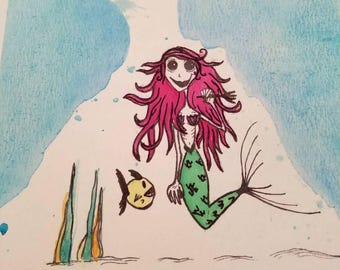 Ariel the Little Mermaid Disney Gothic princess watercolor