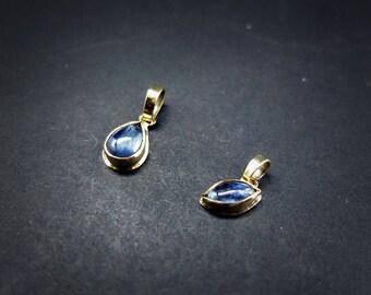 Delicate Blue Kyanite Pendants in 18K Gold
