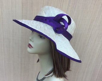 Womens straw hat, Sculptural Natural Straw Hat, Wide Brim Hat, Sun Hat, Mother of The Bride , Free Form Shaped Millinery Hat