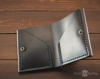 Simple brown leather wallet,  small wallet for men's or women's, bifold wallet SW0060