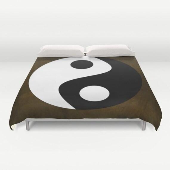 Yin and Yang Duvet Cover,Black White Brown Decorative bedding, Zen Decor, Chinese Symbol,Buddhism Decor,Spirit Mind,Buddhist Symbol,Zen,Dorm