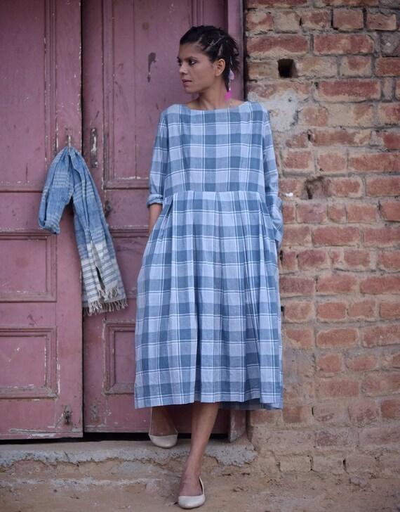 Blue in Dress handloom Tabriz Pure Small cotton Woven Check fwxZp8fqS0