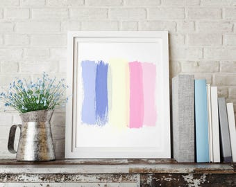 Minimalist abstract printable art, square abstract painting print, pastel colors brush strokes, best selling art, modern art print