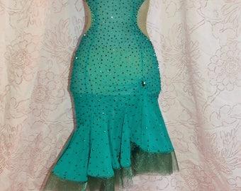Womens' Sheer Emerald Mesh Latin Competition Recital Show Dance Dress Crinoline Hem Sparkling Crystals