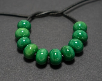 Spacer beads set, Forest green lampwork spacer beads, Lampwork beads, Green glass spacer, Lampwork spacer