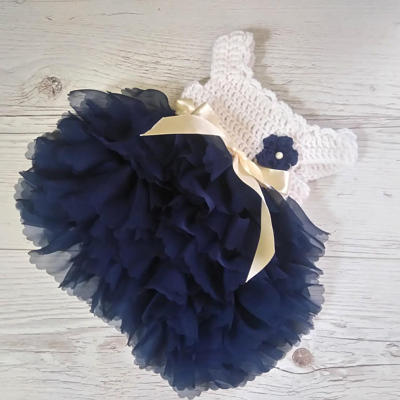 Newborn crochet dress baby dress in ivory and navy sapphire