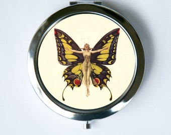 Art Deco Butterfly Flapper Compact Mirror Pocket Mirror