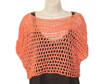 Cotton Crop Top, Womens Clothing, Plus Size Tee, Womans Top, Womans Shell, Crochet Top, Orange Tee, Mesh Tee, Crochet Tee, Summer Top