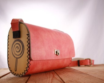 Pink Wood Leather Bag Lollypop | Pink Women's Bag | Evening Bag | Designer bag | Gift for her | Leather Purse | Lady Bag | shoulder bag