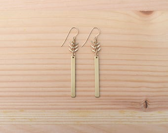 fishbone earrings in brass with gold filled earrings | jewelry for her