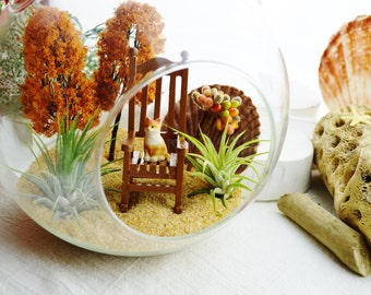"Fall Terrarium Kit ~ 7"" Air Plant Terrarium Kit ~ Cat ~ 2 Autumn Trees ~ Rocking Chair ~ Fall Decor ~ Miniature Garden ~ Fairy Garden ~ Gift"