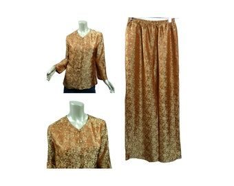 Vintage Asian Pajamas Lounge Set ~ Size Small Loose Fitting ~ Vietnamese Silk ~ Golden Brown Floral Jacquard ~ Top and Pants