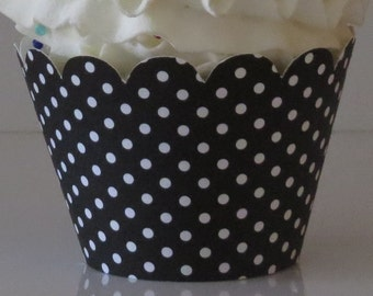 15 BLACK and WHITE Polka Dot  Cupcake Wrappers... Fully Assembled, Mickey Mouse, Minnie Mouse, Lady Bug, Bridal Shower, Wedding, Baby Shower