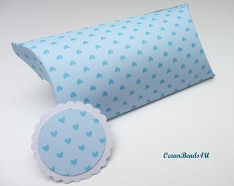 6 Light Blue Pillow Boxes with Hearts + Gift Tags,  Candy Box, Favor Box, Gift Box