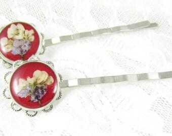 Real Flower Hair Pins (2),Real Flowers, Pressed Flower Jewelry (1574)