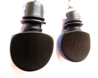 Violin Viola Cello earrings made from wee vintage ebony pegs and stainless steel