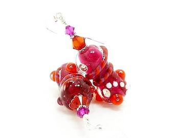Abstract Earrings, Hot Pink Orange Earrings, Lampwork Earrings, Glass Bead Earrings, Bead Earrings, Fuchsia Earrings, Unique Earrings