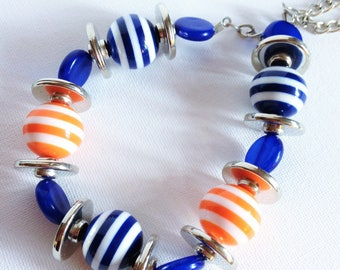 Necklace - Funky white and blue and orange stripe round beads necklace