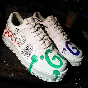 Custom Nike Air Force one,gucci ghost,gucci,custom sneakers , custom shoes