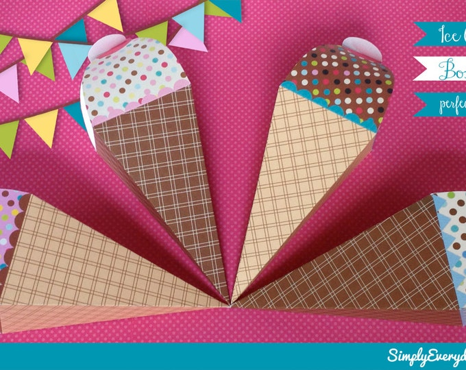 Ice Cream Cone Box - use as a gift box or favor box, INSTANT Download DIY Printable PDF kit