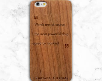 Quote Phone Case, Literary Gift iPhone X, 8, 7 Plus Case, 6s, Galaxy S9, 8 Plus, S7, Wood Rudyard Kipling, Poetry, Gifts for Writers,