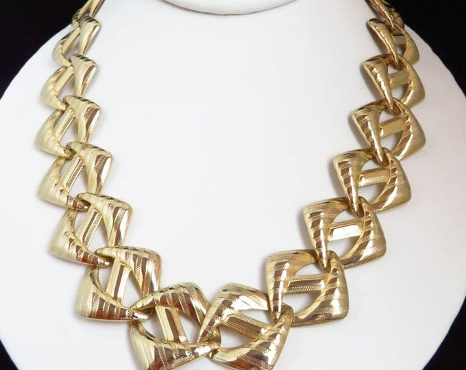 Vintage Tailored Link Necklace, Gold Tone Diagonal Striped Necklace, Gift for Her
