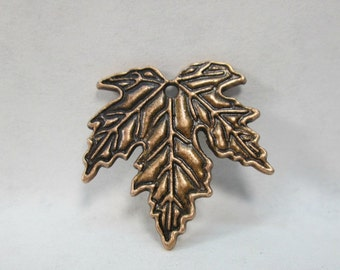 Antiqued Copper Plated Pewter Maple Leaf Etched Pendant 27mm