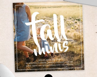 Fall Mini Session Photoshop Template for Photographer - Photography Marketing Material - INSTANT DOWNLOAD - MS037