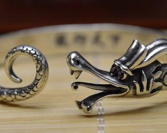 56 Gram Purity 990 Fine Silver Solid Dragon Bracelet Bangle Size Adjust Signed