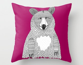 Big Bear Pillow / Bear Pillows / Kids Pillow / Nursery Decor / Double Sided Fuscia Throw Pillow, Faux Down Insert - Illustrated Pillow Cover