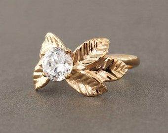 Topaz engagement ring, rose gold solitaire ring, unique rose gold engagement ring, leaf engagement ring, white topaz ring 14k solid gold.