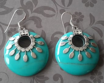 Silver and turquoise unique earrings