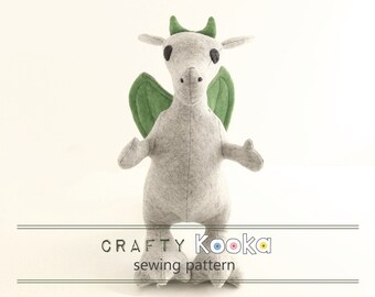 Dragon sewing pattern, stuffed toy pattern, dragon pdf sewing pattern - instant download pdf pattern - sewing projects