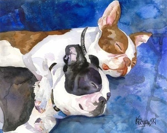 Boston Terrier Art Print of Original Watercolor Painting - Dog Art 11x14