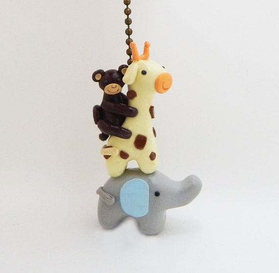 Elephant Giraffe Monkey Fan Pull Chain Safari Themed