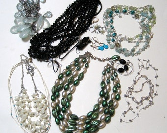 Lot of Vintage Jewelry for Repurposing - Lot - Necklaces and Earrings 1950s