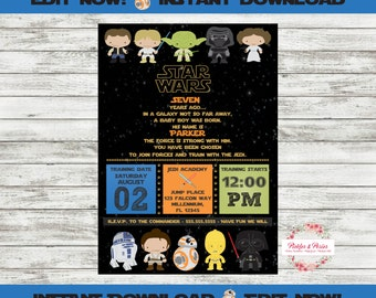 Star Wars Birthday Invitations - Personalized - Star Wars Party - INSTANT DOWNLOAD - Edit at Home with Adobe Reader Now!