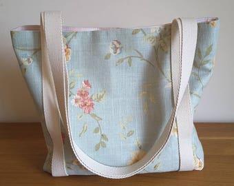 Tote Bag, Floral Tote Bag, Ladies Tote, Summer Bag, Craft Bag, Everyday Bag, Ladies Bag, Handmade, Beach Bag, Knitting Bag