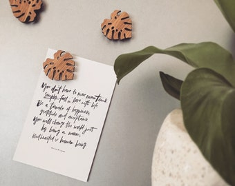 Set of THREE, FOUR or FIVE Monstera leaf magnets - Mothers Day - For mum - Laser cut fridge magnets - Tasmanian Blackwood Made in Australia