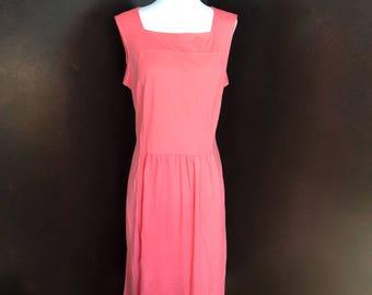 Vintage Coral Lightweight Sleeveless Summer Dress
