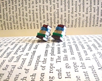 Stack of Books Earrings, Studs (Made to Order) - Book Jewelry by Coryographies