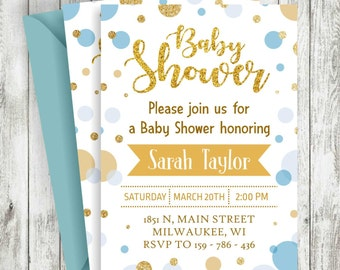 Glitter Baby Shower Boy Invitation, Gold baby shower printable, blue and gold boy baby shower invitation, Baby Shower Invitation