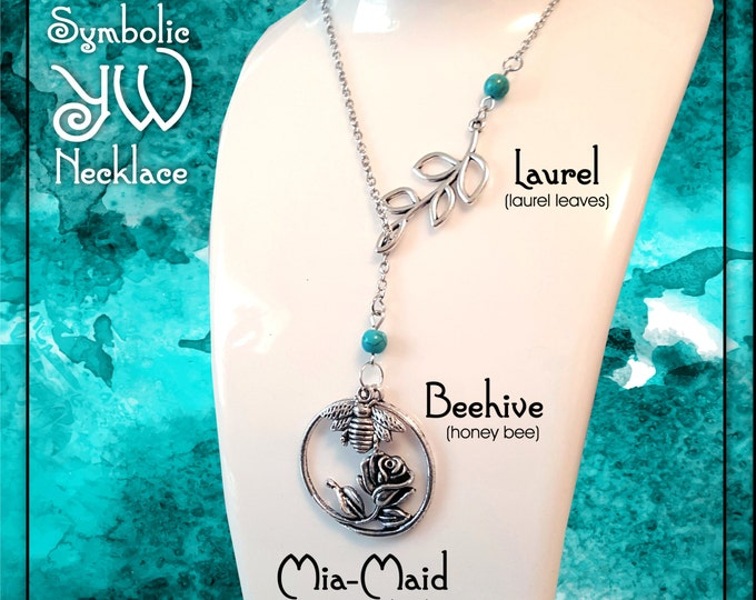 Symbolic YW Necklace for LDS Young Women. Charms representing Laurel, Mia Maid, and Beehive Classes Silver with Turquoise Beads Jewelry Gift