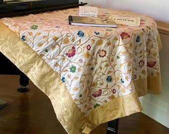 Tapestry Art Quilt - 'Flowers of Gold' - Jacobean Tapestry - Wall Art Quilt - Piano Cover - Grand Piano Quilt Cover  - Australian Seller