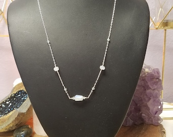 Moonstone & Aquamarine Silver Necklace
