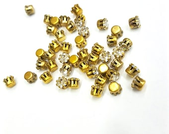 20 Pieces Crystal Swarovski Preset Stones, Raw Brass Tiffany Style Settings, Vintage, 17ss
