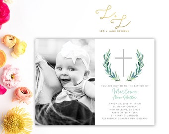 Simple Photo Baptism Invite - Printable or Printed - 5x7 Baptism Invitation with Photo and Cross